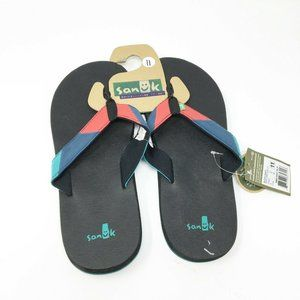 New Sanuk Flip Flops Slippers Footwear 11 Black